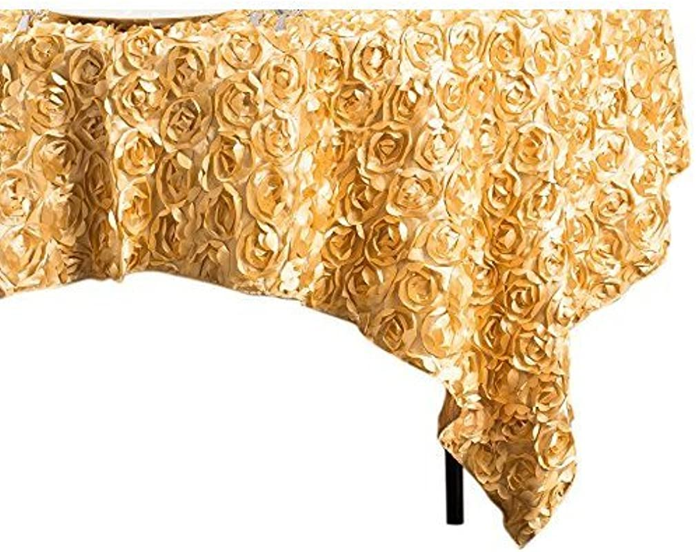 LinenTablecloth Rosette Satin Square Overlay Tablecloth 85 Inch Gold