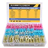 Haisstronica 280PCS Marine Grade Heat Shrink Wire Connectors-Electrical Connectors Kit of Tinned Red Copper,Crimp Insulated Ring Fork Spade Butt Splice(3Colors/7Size) 16-14 22-16 12-10 Gauge