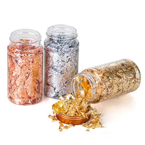 LEMESO 3 botellas Copos Dorados Hojuela de Lámina Plateado Color Oro Rosa de Imitación para Manualidades, Arte de uñas, joyería de resina, pintura acrílica, fabricación de limo, marco de fotos