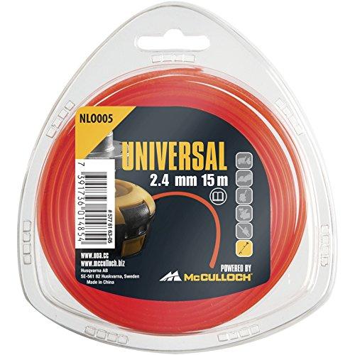 Universal Trimmerfaden Nylon 2.4mmx15m, NLO005: Ersatzfaden für Rasentrimmer, Länge 15 m, Faden-Ø 2.4 mm, reißfestes Nylon (Artikel-Nr. 00057-76.163.05)