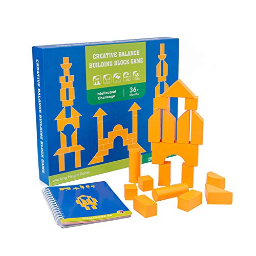 Luiryare Wooden Building Blocks Set Kids Geometric Solid Wood Stacking Cubes 48 Construction Building Game, 18PCS Balancing Blocks Kit Creative Interactive Educational Puzzle Toy Gift (Yellow, 18Pcs)