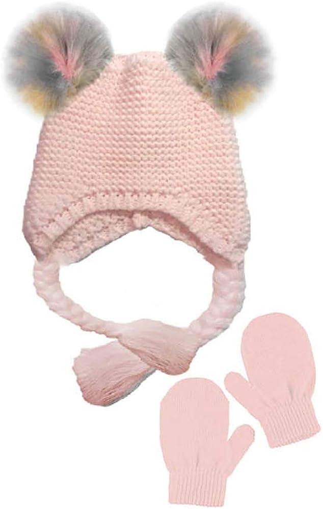 BCBG Toddler Girls Little Kid 2 Piece Knit Hat with Pom Poms and Mitten Set