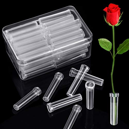 Floral Water Tubes Clear Plastic Flower Vials with Caps for Flower Arrangements (7 cm Length, 48 Pieces)