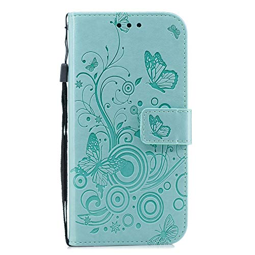 Docrax Huawei P8 Lite 2017 Handyhülle, Hülle Leder Case mit Standfunktion Magnetverschluss Flipcase Klapphülle kompatibel mit Huawei P8Lite 2017 - DOXCH030404 Grün
