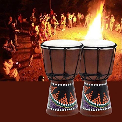 difcuyg5Ozw 4inch Professional Handmade Drums Wooden African Drum Djembe Ballad Percussion Musical Instrument - Random Color