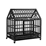 Pupzo Heavy Duty Dog Cage Crate Kennel Strong Metal with Four Wheels and Roof for Large Dogs Easy to Assemble (44'' roof)