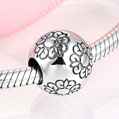 Charm Kralen,925 Sterling Zilveren Stempel Bloemen Ronde Kralen Passen Op Originele Armband Sieraden Maken