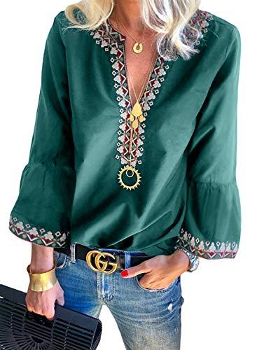 FARYSAYS Women's Fashion 2019 Bohemian Embroidered Tops Long Sleeve V Neck Tee Shirts Loose Blouse Green Medium