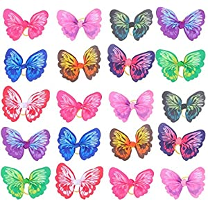 MICOKA 20Pcs Cute Pet Dog Hair Bows Topknot – Small Dog Elastic Butterfly Bowknot with Rubber Bands, Pets Grooming Decor Dog Hair Accessories (Random Color)