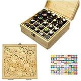 MKNZOME 25 Ranuras Caja de Aceite Esencial de Madera Exhibición Cosmética de Bambú Natural Aceite Contenedor Estante de Presentación Ideal para Perfume y Aceite Perfumado y Esmalte de Uñas#1