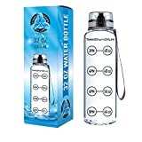 New Lid - 32 oz Clear Sports Water Bottle, Best for Measuring H2o Intake, Tritan BPA Free, Time Tracker w/ Goal Timer, Non-Toxic, Top Plastic Product - Hydration Drink Marker Helper