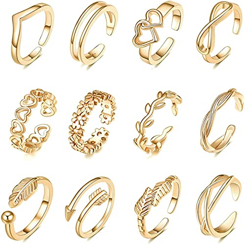 SALAN 12pcs Anillos De Dedo del Pie Ajustables para Mujeres Flor Flecha Banda Anillo De Cola Abierta Mujeres Beach Foot Jewelry Set Color Dorado