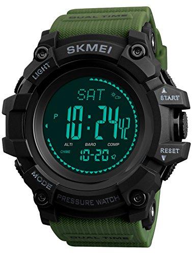 Findtime Kompass Schrittz?hler Thermometer Wettervorhersage Barometer Altimeter H?henmesser Digital Armbanduhr Quarzuhr Outdoor Sportuhren multifunktionsuhr