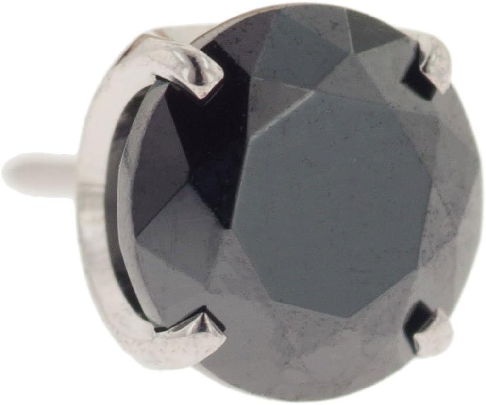 Steel Navel Body Jewelry Threadless Titanium Prong-Set Faceted Gem End: 18g High Polish, Gem: 4mm, Black CZ Gem