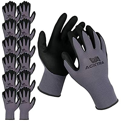 ACKTRA WG019 Safety WORK GLOVES 12 pairs, 15G Seamless Grey Nylon Spandex Shell, Black Nitrile MicroFine Foam Finish Coated, Comfort Fit, Power Grip, for Men and Women, Large