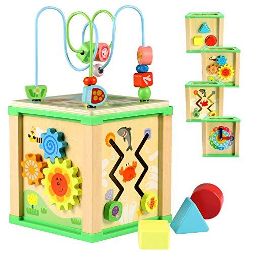 Lewo Cube d'Activités en Bois Labyrinthe de Perles Trieur de Formes Jouets Éducatifs pour Tout-Petits