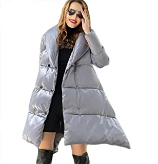 Down Jacket for Pregnant Women A Pendulum high-end Down Jacket Women's Long Thick Autumn and Winter Light Down Jacket Suitable for Various Occasions (Color : Silver, Size : M)