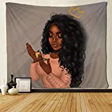 SARA NELL Black Art Tapestry Wall Tapestry Beautiful Afro African Woman African American Women With Queen Crown Make Up Wall Hanging Tapestries for Living Room Bedroom Dorm Decor 60x90 Inches