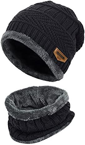 Handcuffs 2-Pieces Winter Beanie Hat Scarf Set Warm Knit Hat Thick Fleece Lined Winter Hat & Scarf for Men Women product image