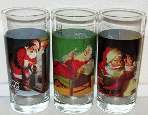 Coca Cola - Bicchiere in vetro, stile retrò, Natale, Babbo Natale, 3 x 0,4 litri