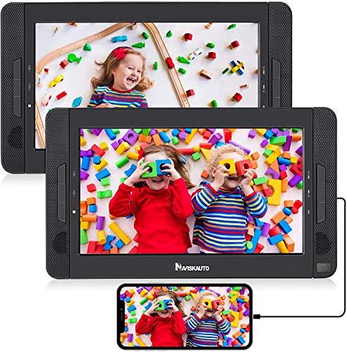 """2 Reproductor de DVD Portátil para Coche con HDMI, 10.1"""" reposacabezas con Dos Pantallas para Niños 5 Horas Batería Recargable Compatible con Tarjeta SD y USB con 2 Mando a Distancias - NAVISKAUTO"""