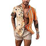 Camisas de Moda de Manga Corta para Hombres Europeos y Americanos Solapa de una Sola Fila Estilo de Botones Costura de Personalidad Color Ropa de Calle de Moda 3XL