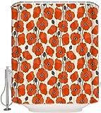 JOOCAR Design Duschvorhang, Vintage rot-orange Mohnblumen, wasserdichter Stoff Stoff Badezimmer Dekor Set mit Haken