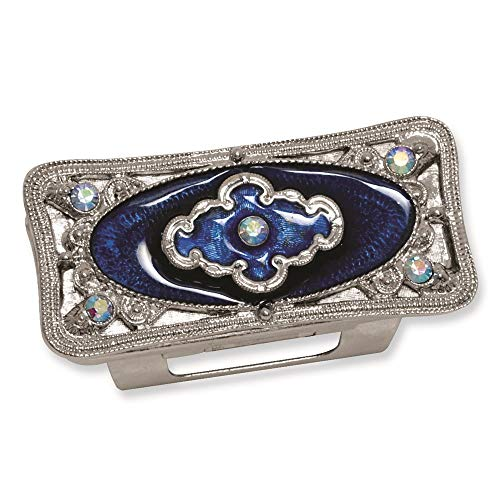 ICE CARATS Silver Tone Blue Enameled Lipstick Holder Travel Pill Box Woman...