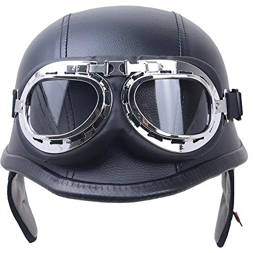 Halber Motorradhelm DOT/ECE-Zulassung Vintage Harley Helme mit Brille geeignet für Männer und Frauen Harley Motorradhelm Bike Cruiser Scooter