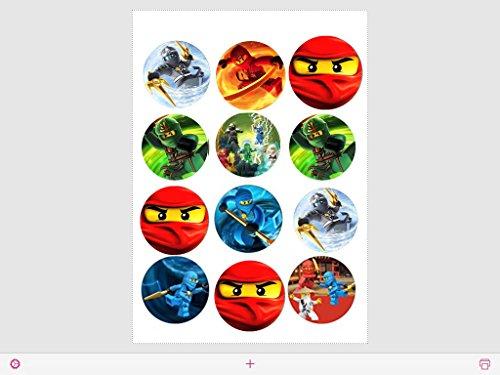 12 Stück Muffinaufleger Muffinfoto Aufleger Foto Ninjago (32) rund ca. 5 cm *NEU*OVP*
