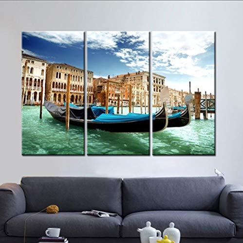 YJN 3 stuks/set canvas kunst canvas schilderij HD 3 panelen zeilboot wooncultuur wandschilderij kunst canvas frameloos M $ 55 50 * 70 * 3
