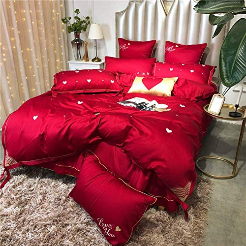 4 Pcs Bedding Set Egyptian Cotton Bedclothes Heart Bed Linens Duvet Cover Set Bed Sheet (Red,Queen Size 6Pcs)
