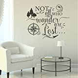BATTOO Not All who Wander are Lost, Travel Wall Saying, Compass Wall Decal, Vinyl Lettering, Urban Decor Wall Art Sticker(Black, 16' WX13 H)