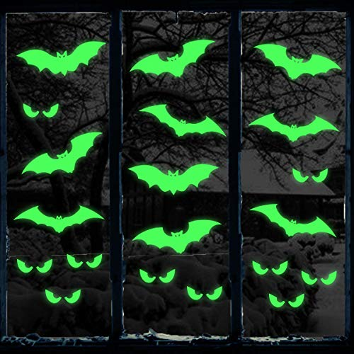 Ivenf Halloween Decorations Glow in Dark Stickers, Bats Peeping Eyes Luminous Wall Decal, Scary Kids School Home Office Halloween Party Supplies, 2 Sheets 30 pcs