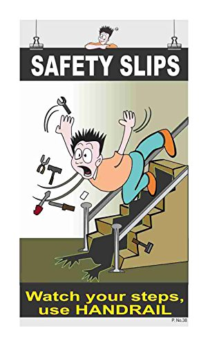 Posterkart Stairs Safety Slips Poster (Paper, 66 x 36 x 1 cm, Multicolour)