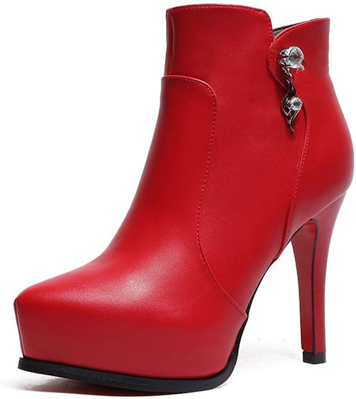 Shirloy Damenstiefel Damen Lederstiefel High Heel Stiefel Kurzstiefel Damenschuhe Lederschuhe Wasserdichte Plattform Dicker Seitlicher Reiverschlussanhnger Wild