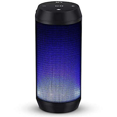 Bluetooth Speaker 4 Colors LED Lights Rich Bass HD Wireless Stereo Audio 8-16 Hour Play Time Built-In Mic Portable for Home Party Travel from Hisoa Direct