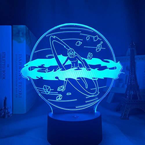 KATA 3D Anime Night Light Illusioavatar The Last Airbender Aang Lámpara para decoración del hogar Regalo de cumpleaños Led Avatar Dormitorio Decoración Luz Aang-Control Remoto VOMUZK