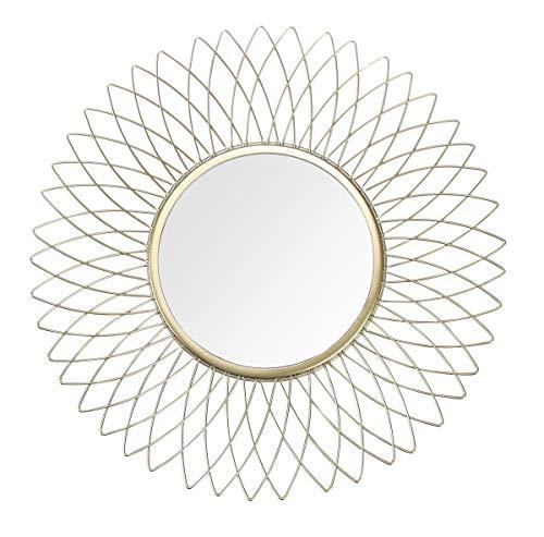 JHY DESIGN Hängespiegel Sonnenblume Dekorativer Metallwandspiegel 36 cm Durchmesser Blume Wandspiegel Runddekor für Schlafzimmer Wohnzimmer Badezimmer Flur (Gold Sonnenblume)