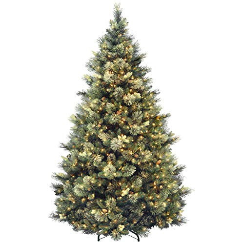 National Tree 7.5 Foot Carolina Pine Tree with Flocked Cones and 750 Clear Lights, Hinged...
