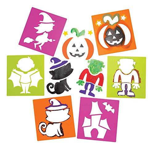 Baker Ross AR654 Kunststoff-Schablonen, ideal für Kinder zum Gestalten und Gestalten von Halloween-Themenbüchern, Karten und Bildern, perfekt für Zuhause, Schule und Bastelprojekte (6 Stück), sortiert