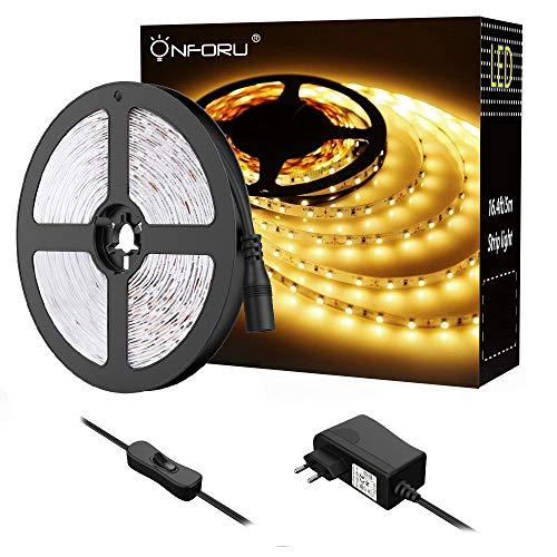 Onforu 5M LED Strip, 3000K Warmweiß LED Streifen, 300er LEDs Band mit Schalter, Selbstklebend 2835 Lichtband, Leuchtband mit 12V Netzteil, Flexibel Klebestreifen für Küche, Schrank, Party, Zimmer Deko