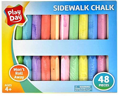Play Day 48Piece Won#039t Roll Away Sidewalk Chalk 2Count  96 Pieces