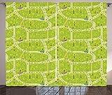 ABAKUHAUS Geométrico Cortinas, Vías de Círculos, Sala de Estar Dormitorio Cortinas Ventana Set de Dos Paños, 280 x 260 cm, Amarillo Verde Verde Manzana