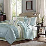 Madison Park Amherst Faux Silk Comforter Set-Casual Contemporary Design All Season Down Alternative Bedding, Matching Shams, Bedskirt, Decorative Pillows, Queen(90'x90'), Green, 7 Piece