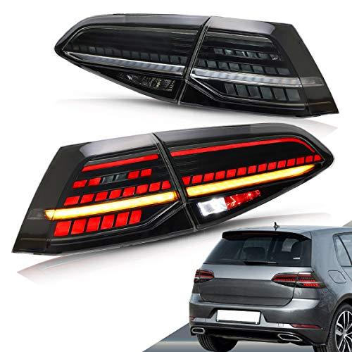 VLAND LED Fanali posteriori per Golf 7 MK7 MK7.5 VII 2013-2019 Luci posteriori fari posteriori con indicatore sequenziale (affumicata)