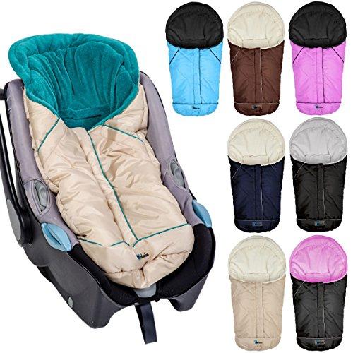 Winterfußsack Fußsack für Babyschale / Autobabyschale / Kinderwagenschale (Schwarz/Hellgrau)