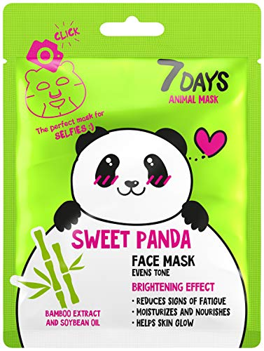 7DAYS Animal Masks 1 pieza de Máscaras Faciales de Animales Panda Hydrated