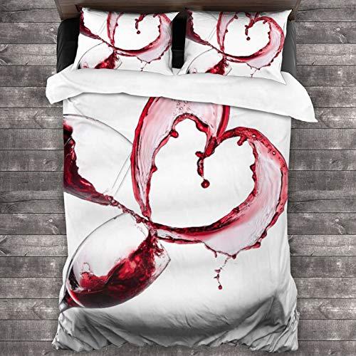 AIMILUX Funda Edredón,Corazón con derramar Vino Tinto en Vasos Amor romántico Día de San Valentín,Ropa de Cama Funda Nórdica,1(140x200cm)+2(50x80cm)