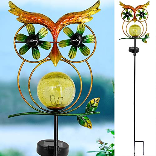 MAGGIFT 39.5 Inch Garden Solar Owl Light, Solar Powered Outdoor Wind Spinner Metal Stake Lights, LED Lighting Glass Ball, Wind Catcher Decorative Lights for Walkway, Pathway, Yard, Lawn, Warm White